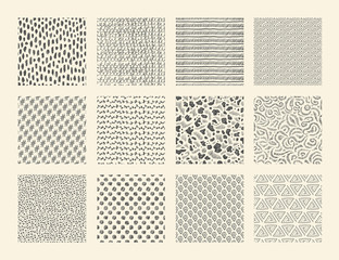 Hand drawn textures. Seamless ink brush repeat patterns with dots strokes grunge and doodle elements. Vector abstract ethnic sketch background set with stripes spots waves
