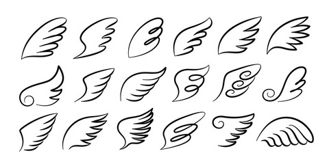 Doodle wings. Cartoon bird feather wings, religious angel wings ink sketch, black tattoo silhouette. Vector hand drawn blade wing sketch set for heraldic symbol emblem on white background Wall mural