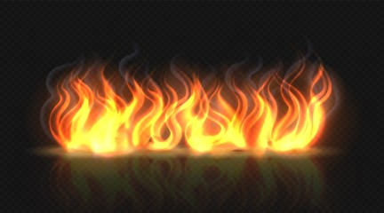 Obraz Fire flame effect with smoke. Horizontal reflection smoke and sparks. Realistic burning fire flame. Hot orange light effect on black transparent background. Vector illustration dangerous collection - fototapety do salonu