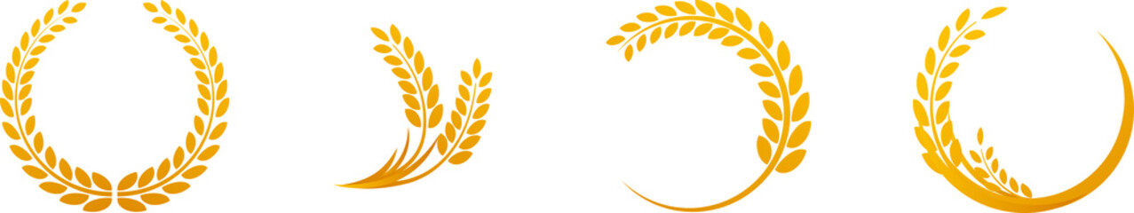 Wheat ears or rice icons set. Agricultural symbols isolated on white background. Design elements for bread packaging or beer label. Vector illustration. Fotoväggar