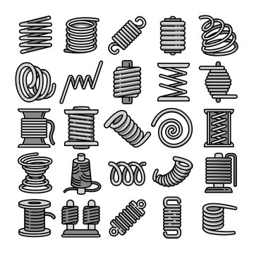 Coil icons set. Outline set of coil vector icons for web design isolated on white background