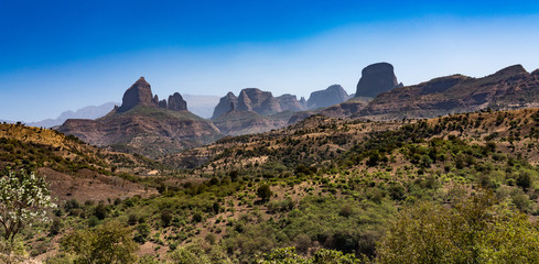 Fototapeten Dunkelbraun Landscape view of the Simien Mountains National Park in Northern Ethiopia