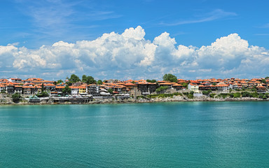 View of Old Town of Sozopol (former ancient town of Apollonia) with Southern Fortress Wall and Tower on the coast of Black Sea in Bulgaria