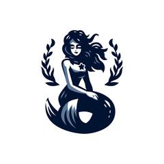 Mermaid with flying hair.