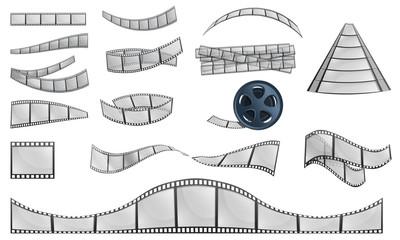 Filmstrip camera icons set. Cartoon set of filmstrip camera vector icons for web design