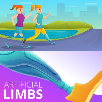 Artificial limbs prosthesis banner set. Cartoon illustration of artificial limbs prosthesis vector banner set for web design