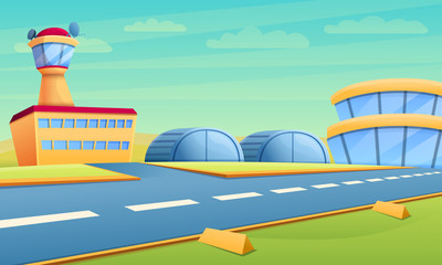 Hangar concept banner. Cartoon illustration of hangar vector concept banner for web design