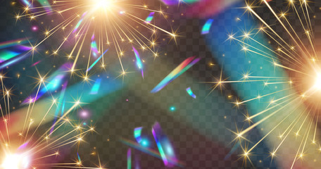 Wall Mural - Fireworks and holographic confetti lights effect isolated on transparent background.  New Year rockets or Christmas sparkle overlay texture. Vector festive foil hologram tinsel banner.