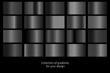 Collection of black gradient backgrounds. Set of black metallic textures. Vector illustration Fototapete