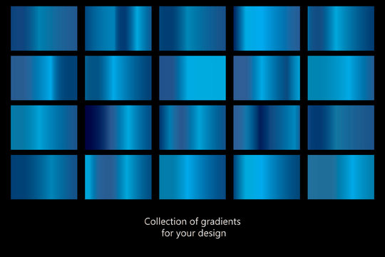 Collection of blue gradient backgrounds. Set of blue metallic textures. Vector illustration