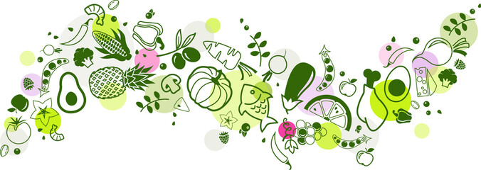 food banner green - healthy & colourful - vector illustration Wall mural