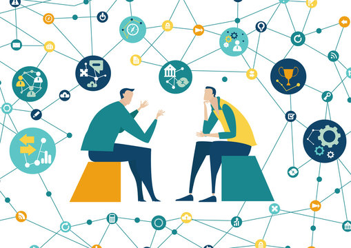 Business people talking and negotiating a deal. People surrounded by communication icons. Business developing and support,  brainstorming, Global business, logistics, concept illustration