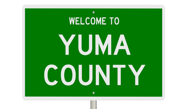 A 3d rendering of a green highway sign for Yuma County Arizona