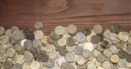 Gold and silver scattered metal coins