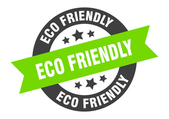 eco friendly sign. eco friendly black-green round ribbon sticker