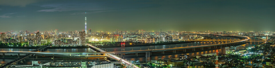 Fotomurales - Cityscape of Tokyo skyline, panorama aerial skyscrapers view of office building and downtown in Tokyo in the night. Japan, Asia.