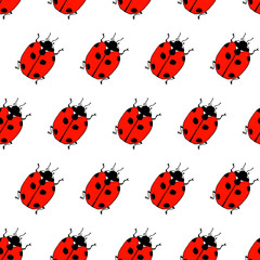Seamless pattern from lady bugs. Doodle sketch. Colorful outline on white background. Picture can be used in greeting cards, posters, flyers, banners, logo, botanical design etc. Vector illustration