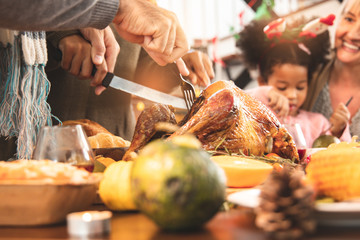 Thanksgiving Celebration Tradition Family Dinner Concept.family having holiday dinner and cutting turkey.Young black adult woman and her daughter happy..