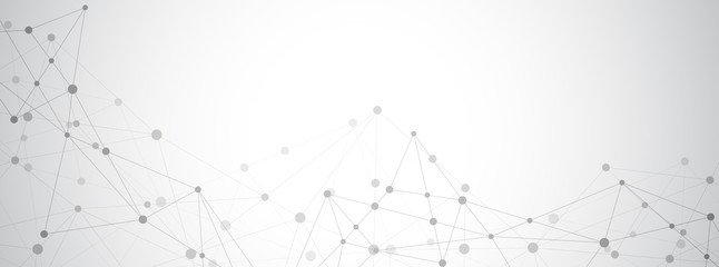 Obraz Abstract plexus background with connecting dots and lines. Global network connection, digital technology and communication concept. - fototapety do salonu