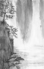 Wodospad rysowane tuszem. Atramentem krajobraz góry wody. Malarstwo tuszem chińskim. Malowanie na surowym arkuszu - 294155784