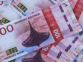 Norwegian krone. Money of Norway. Closeup photo. Oslo. NOK