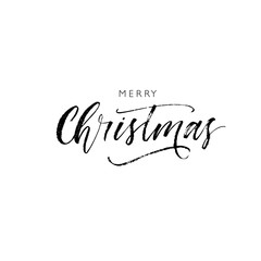 Merry Christmas card. Hand drawn brush style modern calligraphy. Vector illustration of handwritten lettering.