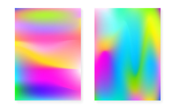 Hologram gradient background set with holographic cover. 90s, 80s retro style. Iridescent graphic template for flyer, poster, banner, mobile app. Plastic minimal hologram gradient.
