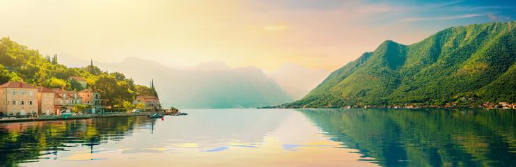 Foto auf Acrylglas Beige Bay of Kotor and Perast town