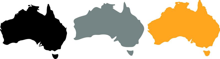 Australia map icon for web design isolated on white background