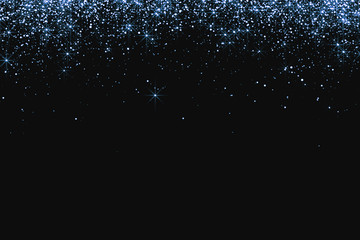 waterfalls of blue silver glitter sparkle bubbles particles stars on black background, valentine day love relationship holiday event festive concept