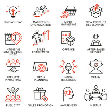 Vector set of linear icons related to business management process, advertising promotion and marketing. Mono line pictograms and infographics design elements - part 6