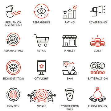 Vector set of linear icons related to business management process, advertising promotion and marketing. Mono line pictograms and infographics design elements - part 8