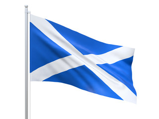 Scotland flag waving on white background, close up, isolated. 3D render