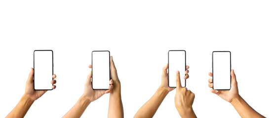 A collection of images of a woman holding a cell phone isolated on a white background with a path drawing.