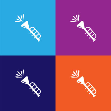 Trumpet vector icon on colored background