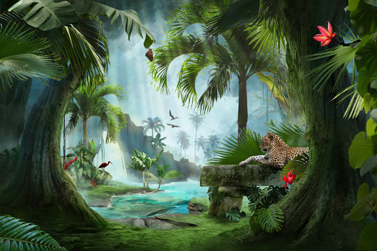 beautiful jungle beach lagoon view with a jaguar, palm trees and tropical leaves, can be used as background