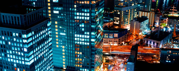 Aerial view of the cityscape of Minato, Tokyo, Japan at night Wall mural