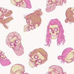 Bearded skull with eyeball, pink seamless pattern. Male skull with a stylish haircut, beard and mustache. Picture for Halloween.
