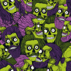 Bearded green zombie skull with eyeball,  seamless pattern. Male skull with a pink, purple stylish haircut, beard and mustache. Picture for Halloween.