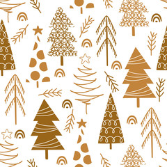 seamless pattern with gold christmas trees on white background - vector illustration, eps