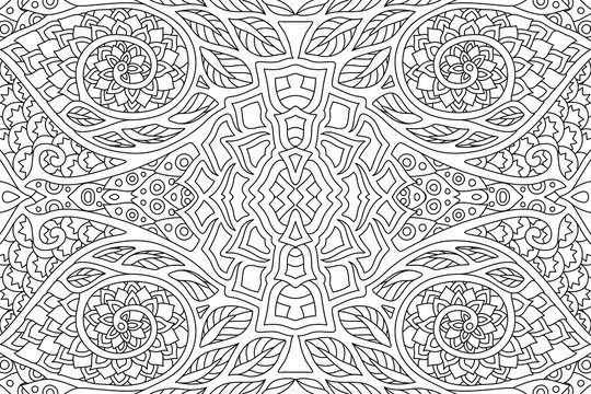 Linear art for coloring book with abstract pattern
