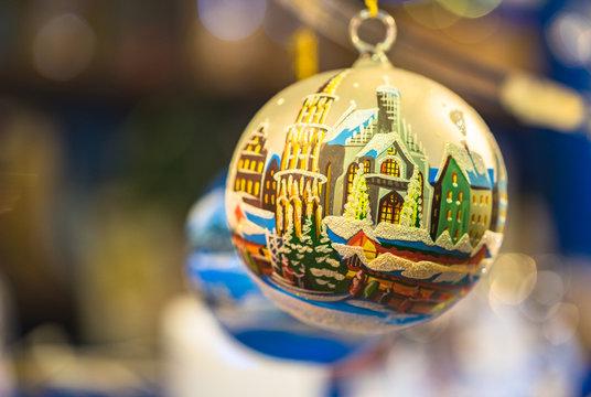 Christmas ball handmade painted at Christkindlesmarkt Nuremberg