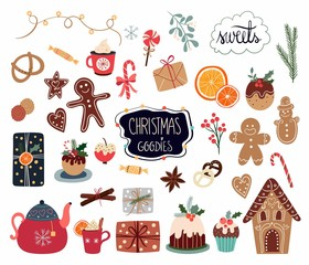 Christmas elements collection with different sweets and seasonal items isolated on white background