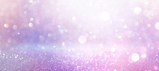 Fototapete - abstract glitter pink, purple and gold lights background. de-focused. banner