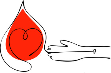 Vector abstract logo associated with blood donation.