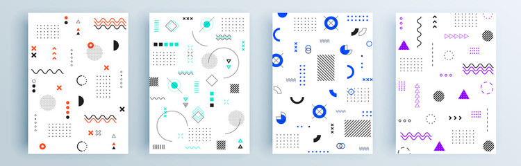 Modern abstract covers set, minimal covers design. Colorful geometric background, vector illustration. Fotomurales