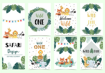 Collection of safari background set with giraffe,elephant,zebra,lion,light.Editable vector illustration for birthday invitation,postcard and sticker.Wording include wild and free Wall mural
