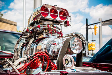 Souped up super-charged hot rod engine.
