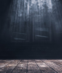Inside of a haunted house scene with wooden floors and old window,3d illustration
