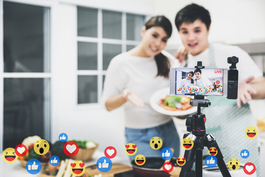 Vlogger and blogger cooking job concept